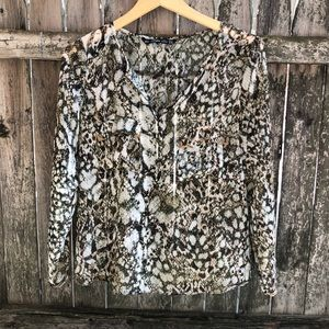 Zara Snakprint Chiffon Top Sz Medium